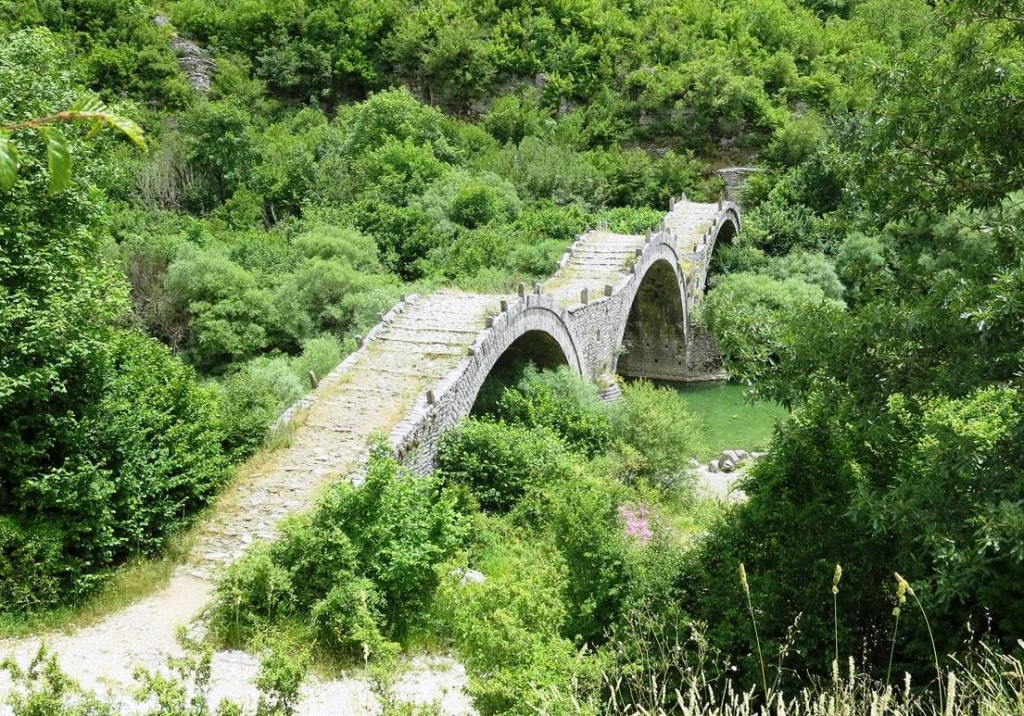 Stone bridge with cobbled mule path, Zagoria