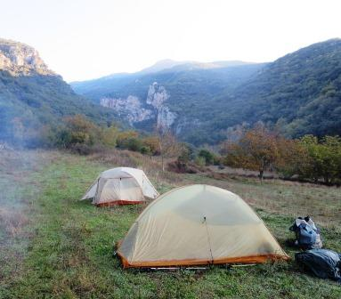 Camping spot near Ancient Gortys in the Lousios Valley, Greece